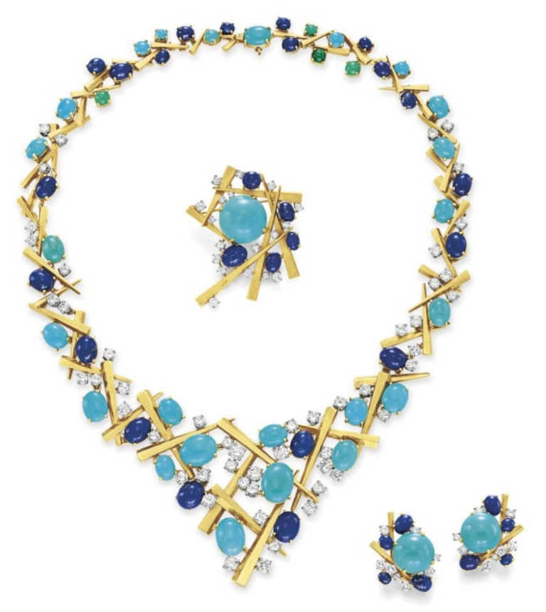"""Lot-214-A-SUITE-OF-DIAMOND-TURQUOISE-LAPIS-LAZULI-AND-GOLD-JEWELRY-BY-MARIANNE-OSTIER- Turquoise jewelry """" The Stone of the Sky & Earth"""""""