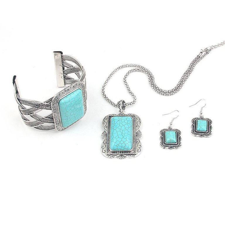 "MN2161-three-pieces-Square-Turquoise-Jewelry-Set-Vintage-Tibet-Silver-Necklace-Earring-bangle-Set-Free-Shipping Turquoise jewelry "" The Stone of the Sky & Earth"""