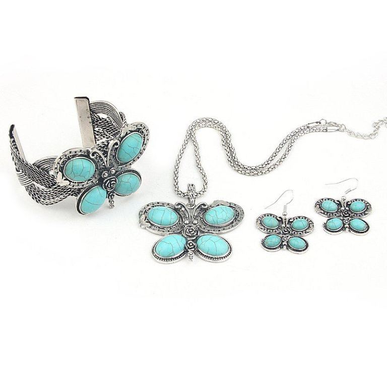 "MN2166-three-pieces-butterfly-Turquoise-Jewelry-Set-Vintage-Tibet-Silver-Necklace-Earring-bangle-Set-Free-Shipping Turquoise jewelry "" The Stone of the Sky & Earth"""
