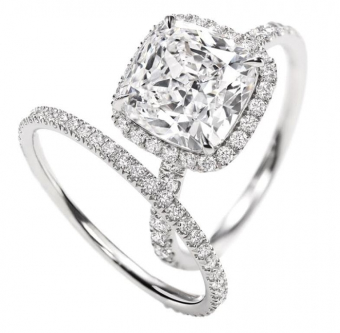 Micropavé-Ring-Cushion-cut Cushion Cut Engagement Rings for Beautifying Her Finger