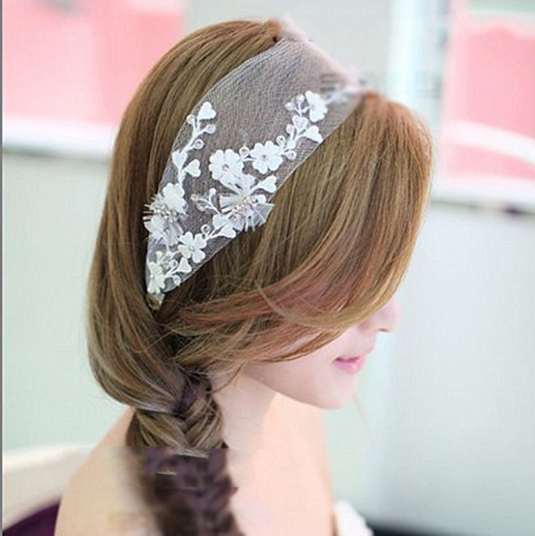 "New-2014-Bridal-Rhinestone-Beaded-Flower-Lace-Headbands-Wedding-Hair-Accessories-Ornament-Jewelry-Headpiece-For-Bride ""Wedding Headbands"" The Best Choice for Brides, Why?!"