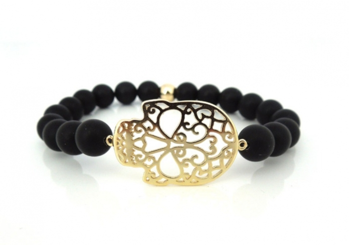 Onyx-Patterned-Skull-Bracelet Skull Jewelry for Both Men & Women