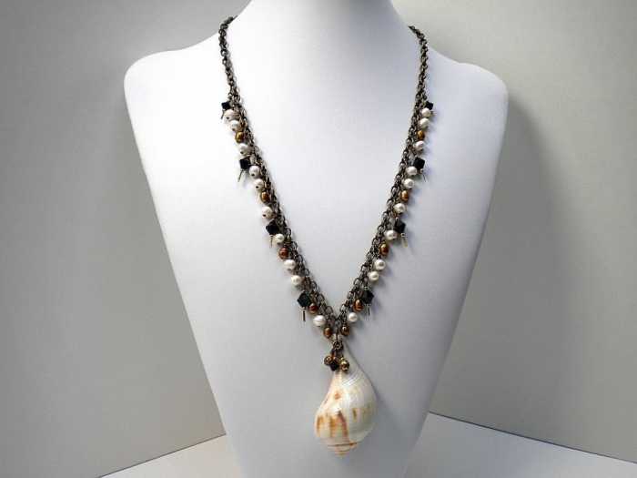 Pear-Whelk-Shell-Necklace Seashell Jewelry as a Natural Gift