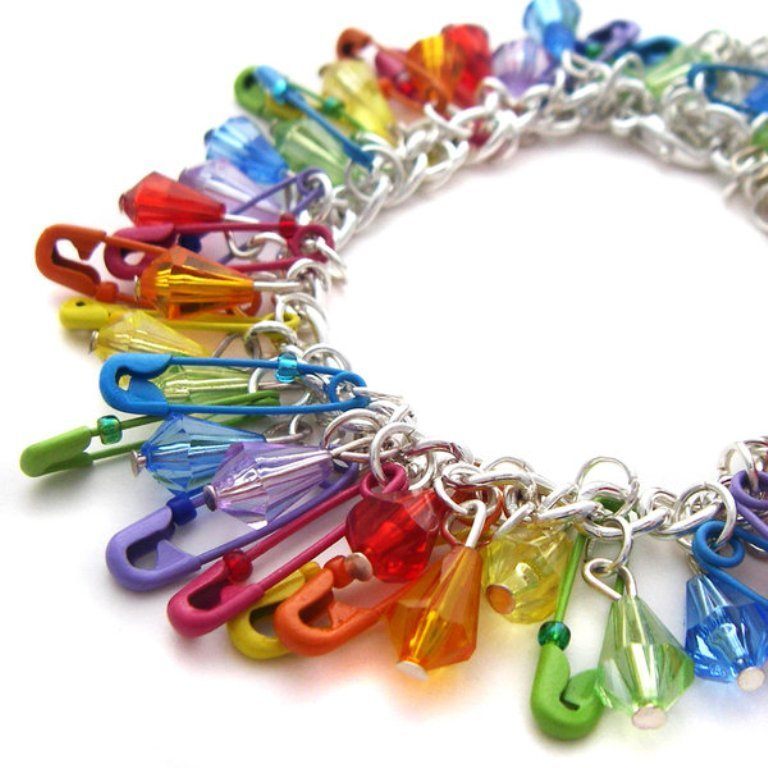Rainbow_Safetypin_Bracelet_by_fairy_cakes 25 Mysterious Rainbow Jewelry Designs