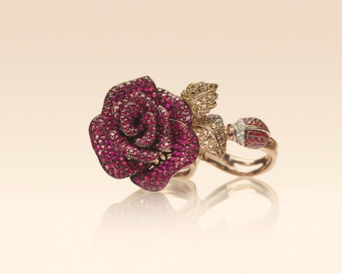 Rose-and-Lady-Birds-Double-Finger-Ring1 Double Finger Rings for Elegant Hands