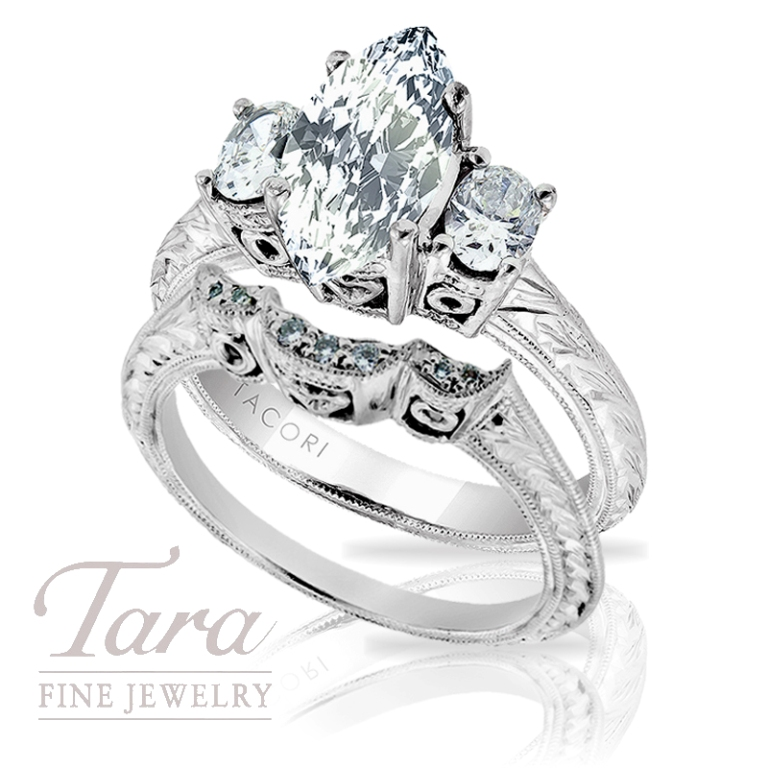 "Tacori-Engagement-Ring-and-Band-.52-TDW-Atlanta Top 10 Facts of Tacori Jewelry ""The Jewel of Rich, Famous & Stars"""