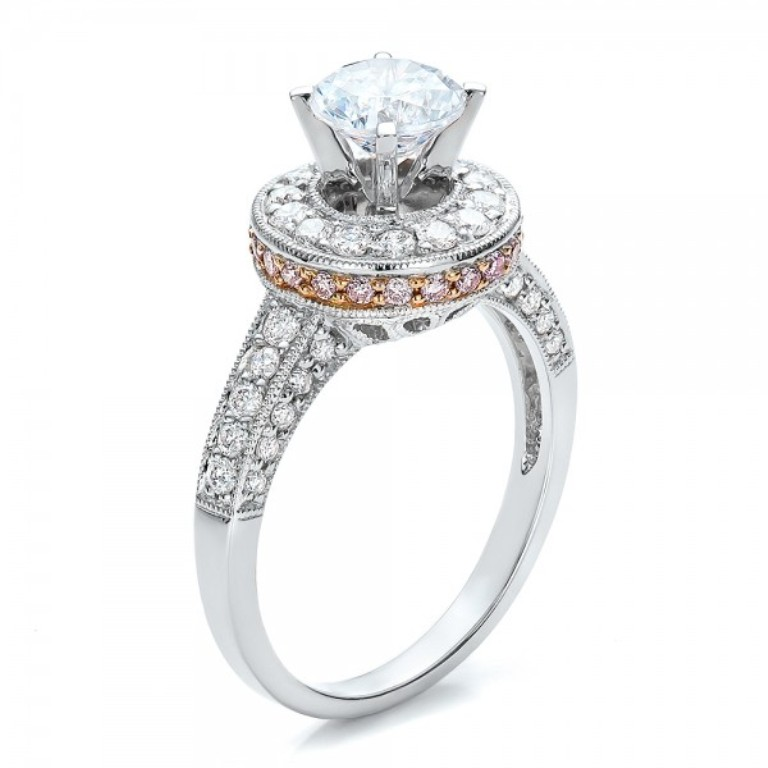 Two-Tone-Gold-and-Diamond-Halo-with-Pink-Diamonds-Engagement-Ring-3Qtr-100687 Most Famous Romantic & Unique Jewelry with Pink Diamonds