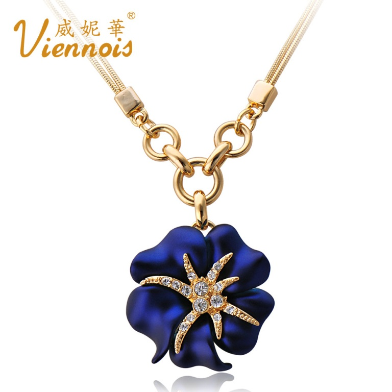 V019310N-Viennois-Fashion-Jewelry-Special-Flower-Necklace-made-with-Austrian-crystal-Free-shipping-Nickel-free Get a Royal & Fashionable Look with Costume Jewelry