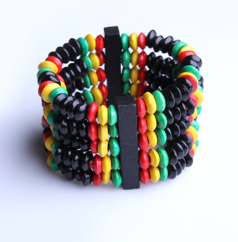 Vintage-African-Style-Colorful-Hawaii-Wooden-Beads-Bracelets-Bangles-Elastic-Wood-Bangle-Fashion-Jewelry-FreeShipping-Wholesale Create Fascinating & Dazzling Jewelry Pieces Using Wooden Beads