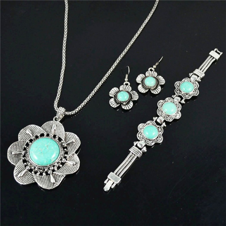 Vintage-Look-Tibetan-Silver-Alloy-Delicate-Flower-Turquoise-Bead-Necklace-Bracelet-Earring-Jewelry-Set-S034 Create Unique & Fashionable Jewelry Using Tibetan Silver Beads