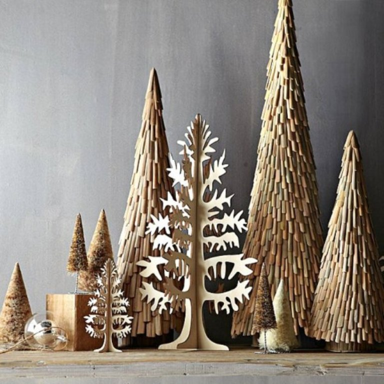 Wooden Christmas Tree New Year Trends Decoration