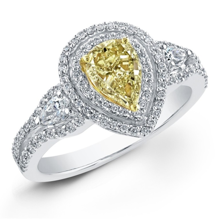 Yellow-Diamond-Pear-Shape-Engagement-Ring How to Select the Best Engagement Ring