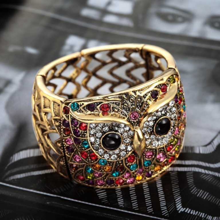 antique-gold-rhinestone-owl-cuff-bracelet-multicolor Get a Royal & Fashionable Look with Costume Jewelry