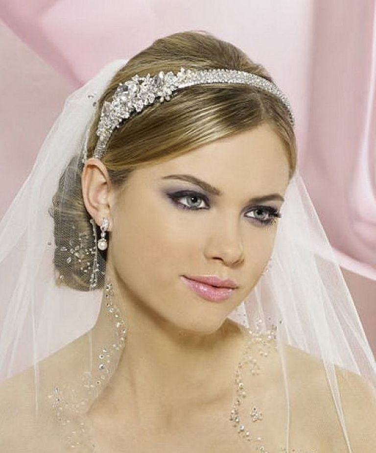 """best-wedding-updo-hairstyles-with-headband-and-veil-for-straight-hair """"Wedding Headbands"""" The Best Choice for Brides, Why?!"""
