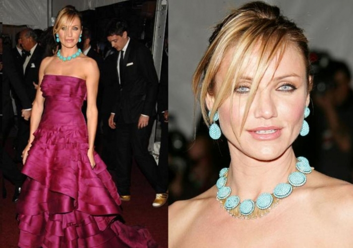 "cameron-diaz-in-turqouise-jewellery Turquoise jewelry "" The Stone of the Sky & Earth"""