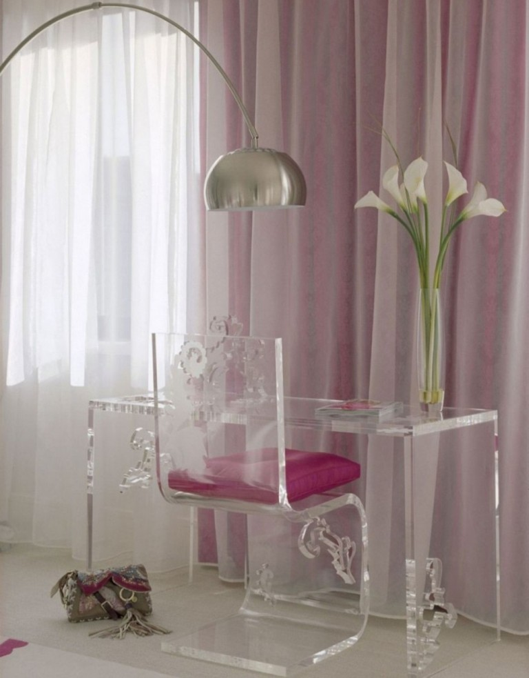 contemporary-teen-study-room-design-with-lucite-z-chair-and-fuchsia-pink-cushion-also-modern-plexiglass-desk-table-and-stainless-arch-lamp-white-sheer-curtain-1024x1310 Forecasting--> 25+ Hottest Trends in Home Decoration 2019