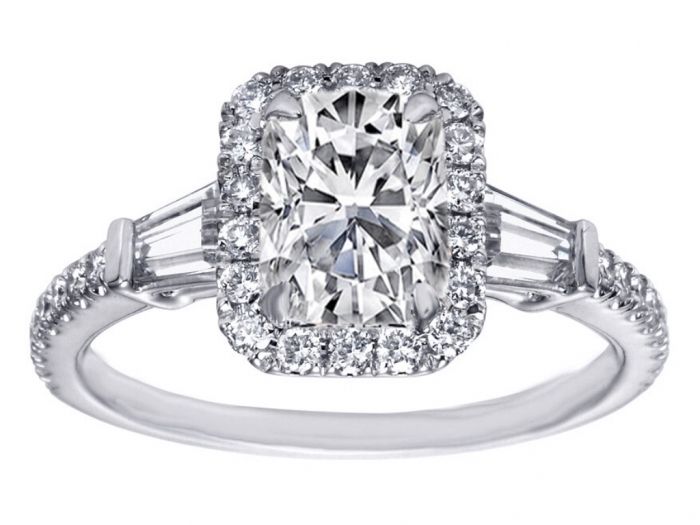 cushion-cut-diamond-halo-engagement-ring-baguette-side-stones-246293 Cushion Cut Engagement Rings for Beautifying Her Finger