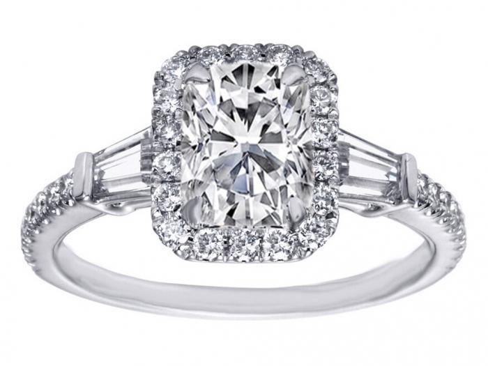 cushion-cut-diamond-halo-engagement-ring-baguette-side-stones-246293 Cushion Cut Engagement Rings for Beautifying Her Finger