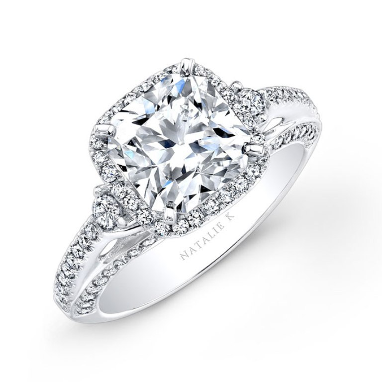 cushion-cut-engagement-rings-Natalie-K-NK22438-W-a Cushion Cut Engagement Rings for Beautifying Her Finger