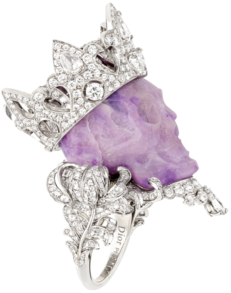 dior_diamond_purple_skull_ring Skull Jewelry for Both Men & Women