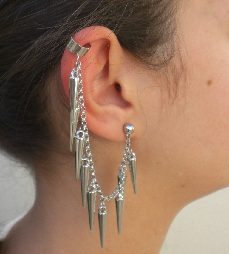 ear-cuff-spikes-prata-ref-00521 Slave Earrings For Catchier Ears & Fashionable Styles ...