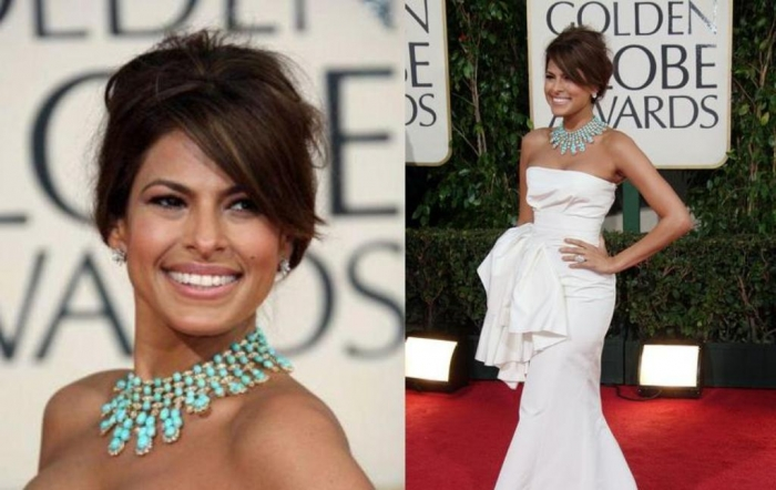"""eva-mendes-in-turquoise-jewellery Turquoise jewelry """" The Stone of the Sky & Earth"""""""