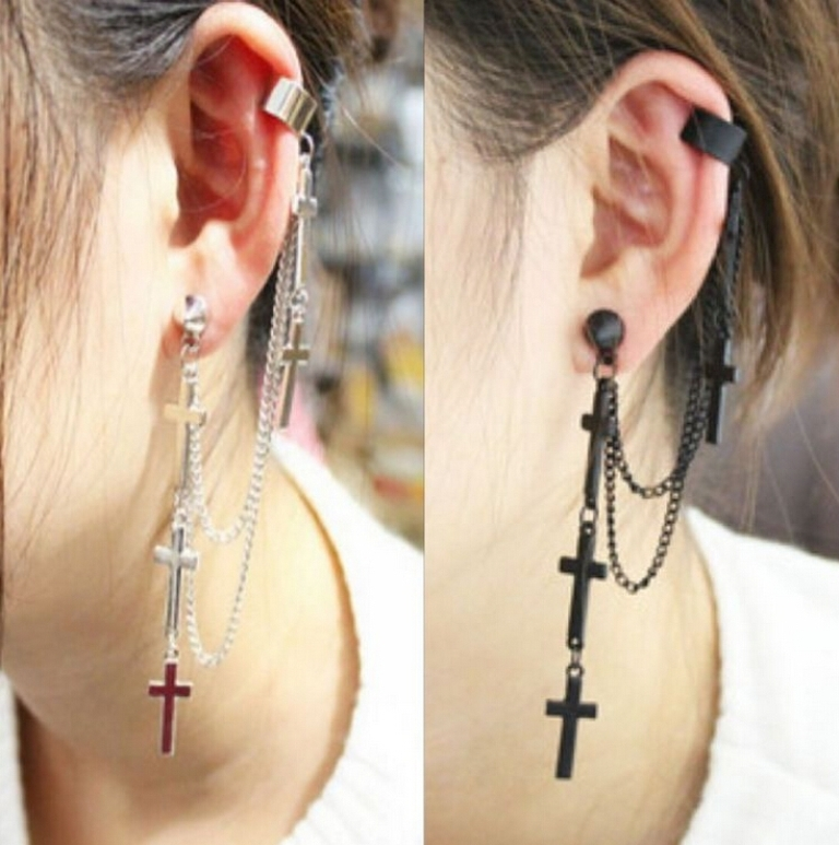 font-b-UK-b-font-Hot-Gothic-font-b-Cartilage-b-font-cuff-cross-tassel Slave Earrings For Catchier Ears & Fashionable Styles ...