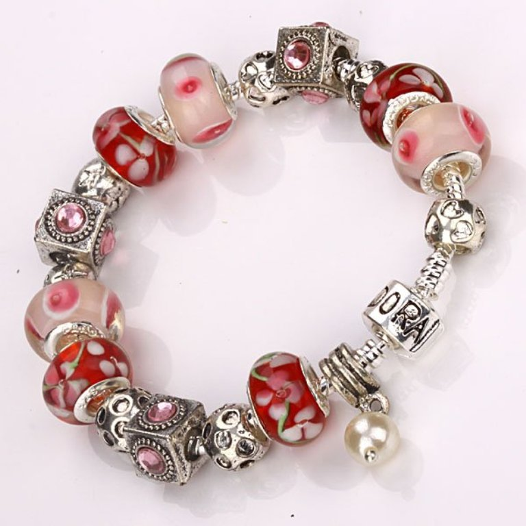 free-shipping-Jewelry-crystal-glass-beads-925-SILVER-women-s-charms-bracelet Glass Beads for Creating Romantic & Fashionable Jewelry Pieces