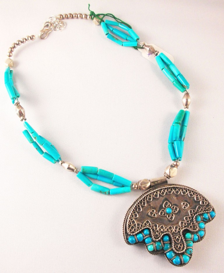 genuine_tibetan_silver_pendant_with_turquoise_and_silver_bead_necklace Create Unique & Fashionable Jewelry Using Tibetan Silver Beads