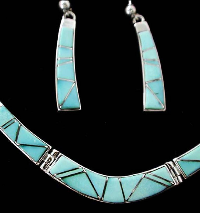 """inlay-jewelry-set-turquoise Turquoise jewelry """" The Stone of the Sky & Earth"""""""