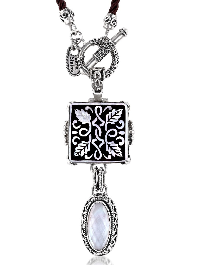 ladies-mother-of-pearl-necklace-silk-cord-sterling-toggle-clasp-Sara-Blaine-75400240 Top 7 Types of Necklace Clasps