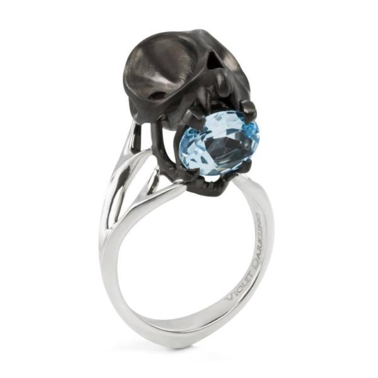 matte-black-tarsier-skull-ring-with-blue-topaz_1336571512_1 Skull Jewelry for Both Men & Women