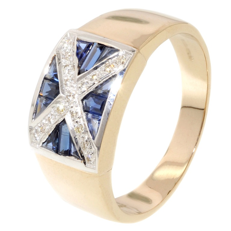 mens-sapphire-and-diamond-scotland-flag-ring_1 Men's Diamond Rings for More Luxury & Elegance