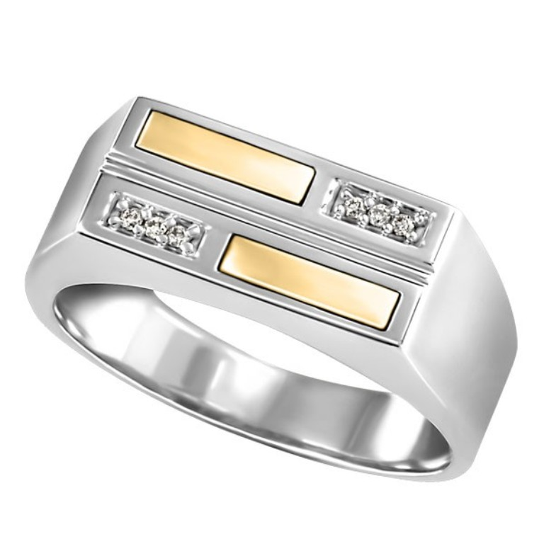 mens-silver-and-yellow-gold-diamond-ring-rin-sil-0233 Men's Diamond Rings for More Luxury & Elegance