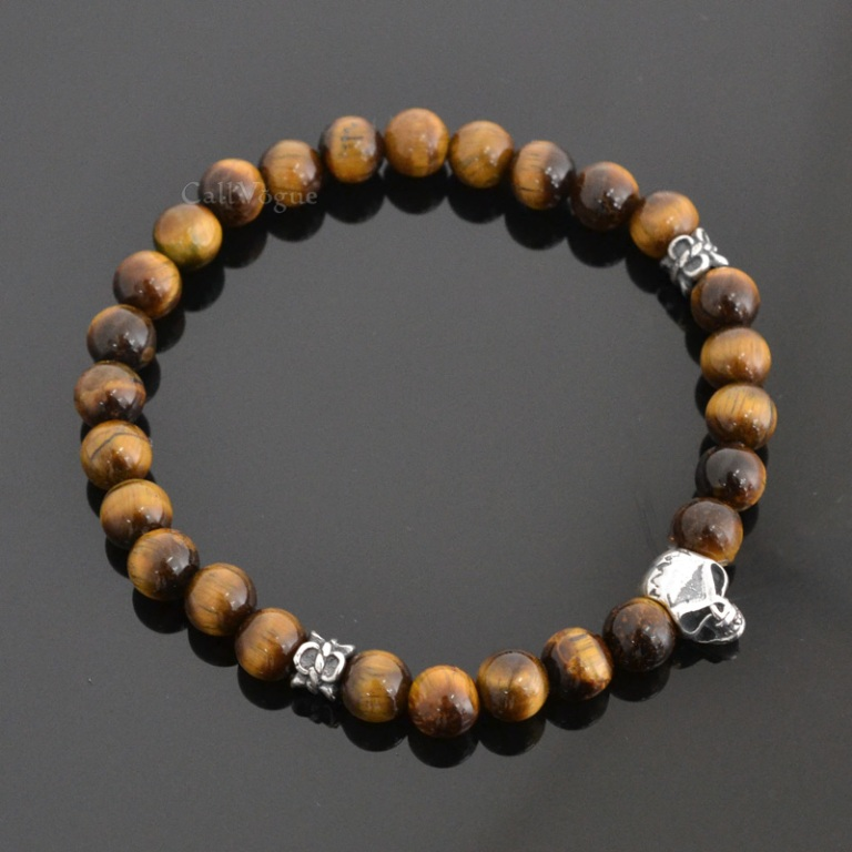 mini-skull-sterling-silver-Brown-tiger-eye-6mm-bracelet-M2 Tiger Eye Jewelry & Its Unusual Properties