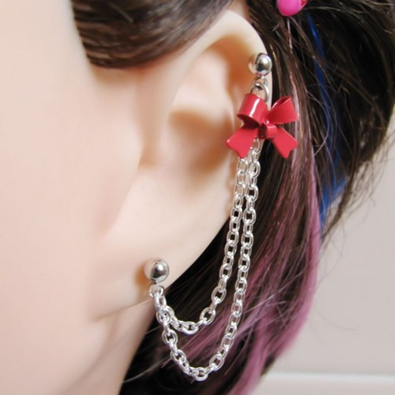 red_bow_cartilage_connecting_chain_slave_earring_6aeb5c53 Slave Earrings For Catchier Ears & Fashionable Styles ...