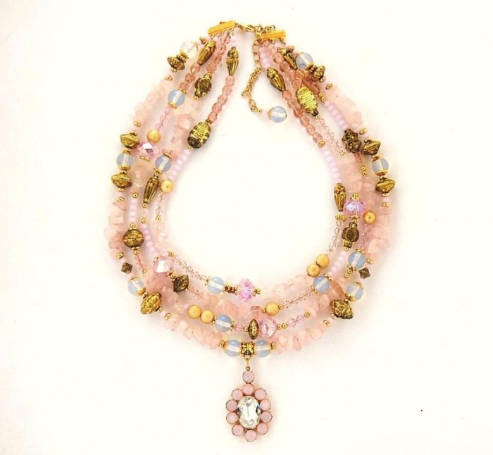 rose-quartz-moonstone-and-crystal-4-strand-pendant-necklace-janine-antulov Moonstone Jewelry Offers You Fashionable Look & Healing properties