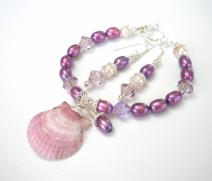 seashell-jewelry-violet-pearls-set-3 Seashell Jewelry as a Natural Gift