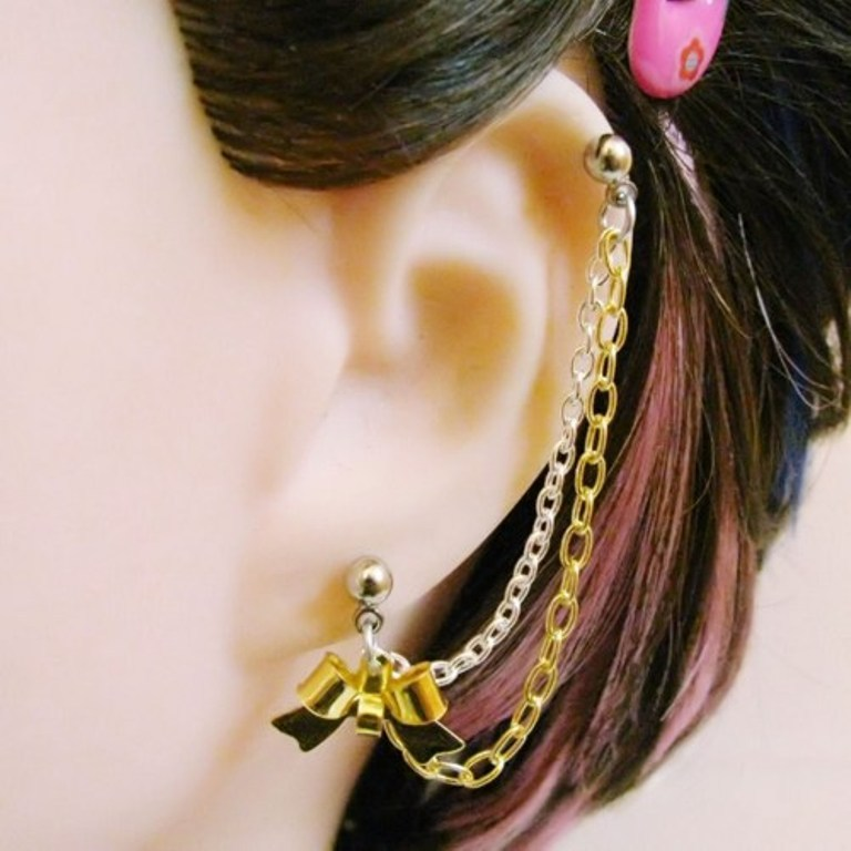 shiny_ribbon_bow_cartilage_chain_slave_earring_in_silver_and_gold_95b431a4 Slave Earrings For Catchier Ears & Fashionable Styles ...