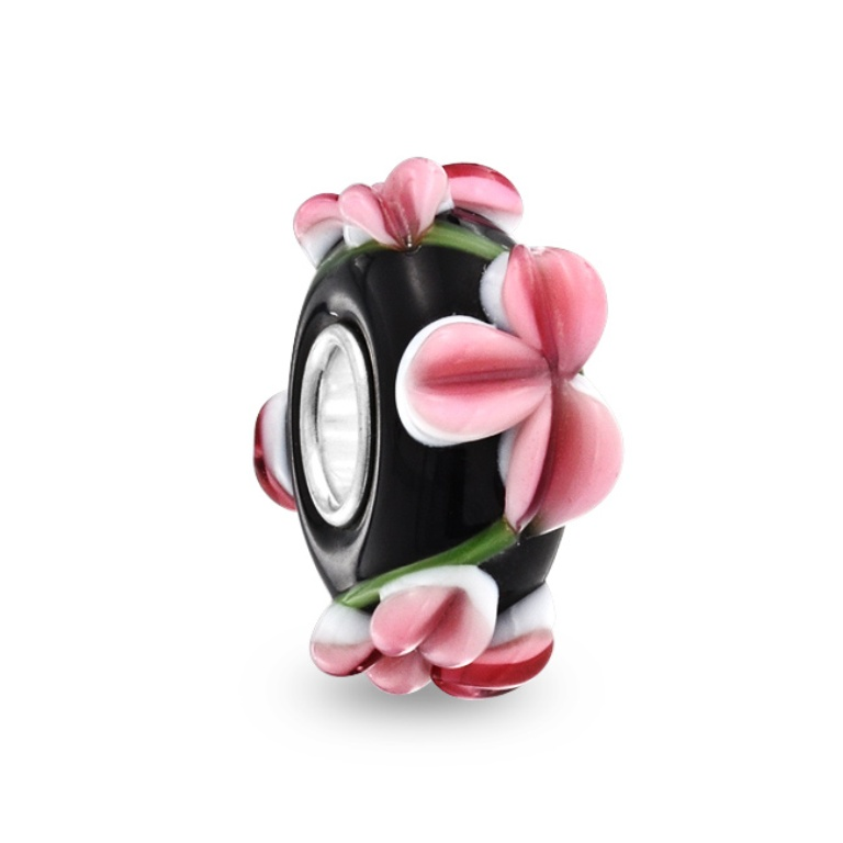 silver-black-pink-flowers-murano-glass-bead-pandora_1 Glass Beads for Creating Romantic & Fashionable Jewelry Pieces