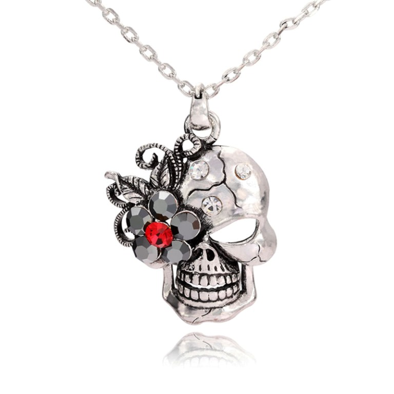 skull-pendant-skull-flow-er-pendant-skull-necklace-skull-flower-necklace-silver-pendant-Favim.com-505567 Skull Jewelry for Both Men & Women