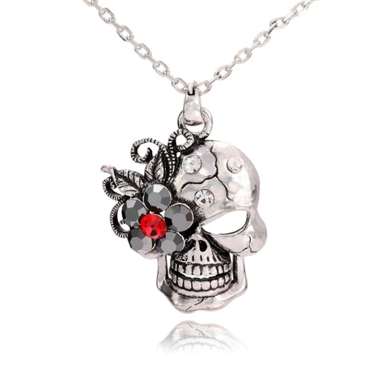 skull-pendant-skull-flow-er-pendant-skull-necklace-skull-flower-necklace-silver-pendant-Favim.com-505567 Skull Jewelry for Both Men & Women