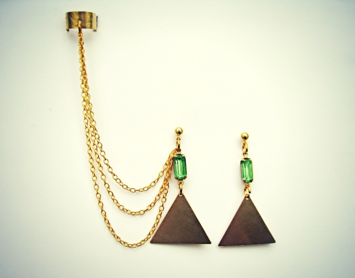 triangle-and-green-stone-ear-cuff Slave Earrings For Catchier Ears & Fashionable Styles ...