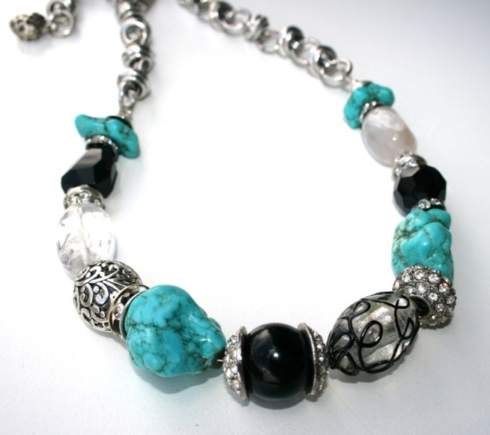 "turquoise-onyx-and-crystal-mixed-media-gemstone-necklace-7 Turquoise jewelry "" The Stone of the Sky & Earth"""