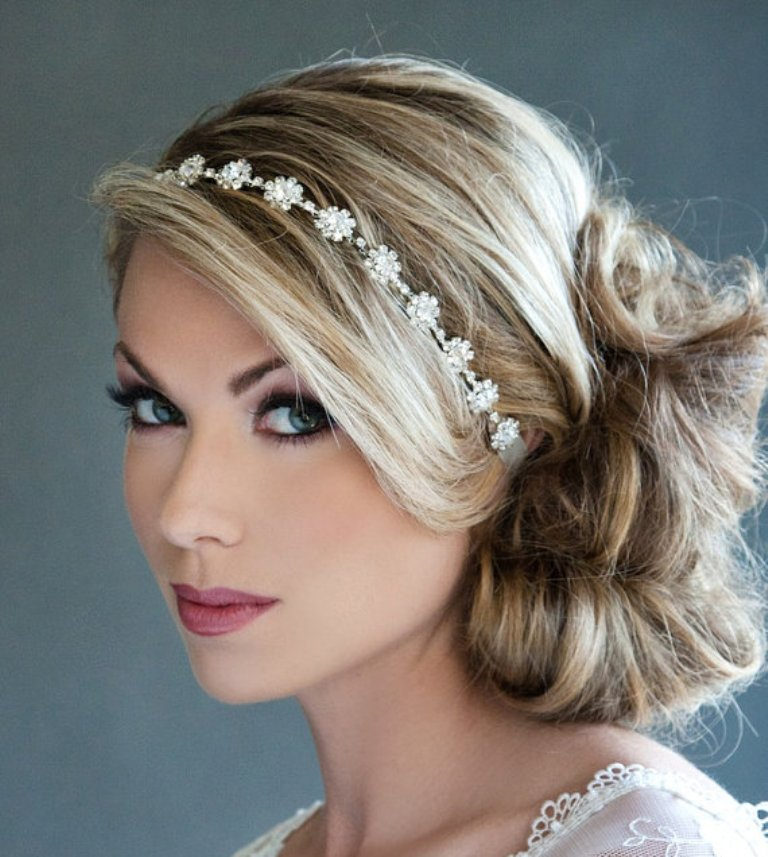 "wedding-hair-with-headband-and-veil-2014 ""Wedding Headbands"" The Best Choice for Brides, Why?!"