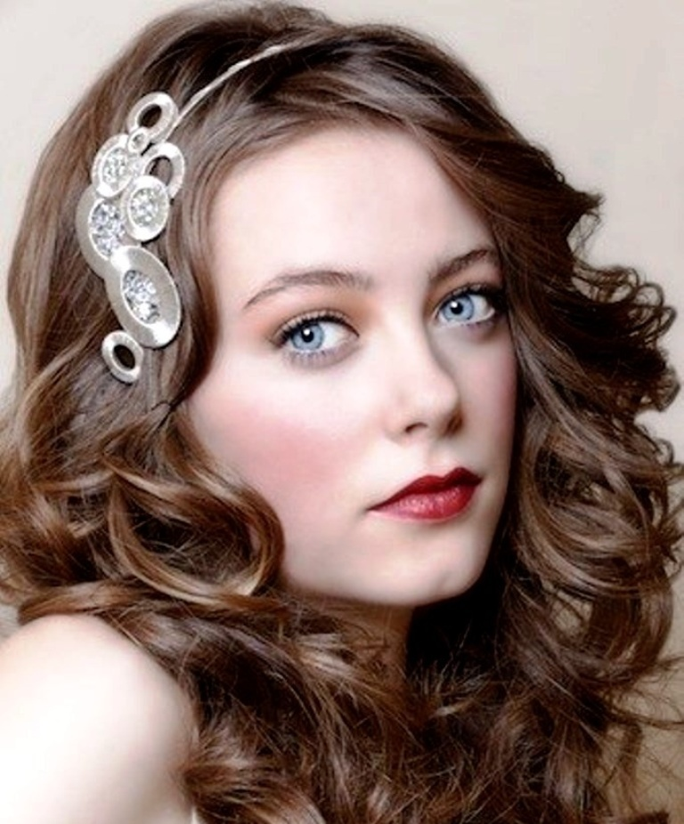 """wedding-hairstyles-with-headband-and-curls """"Wedding Headbands"""" The Best Choice for Brides, Why?!"""