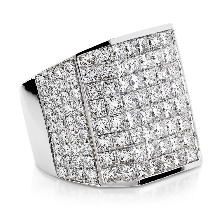 wide-14k-gold-designer-round-and-princess-cut-diamond-ring-for-men-139ct_1 Men's Diamond Rings for More Luxury & Elegance
