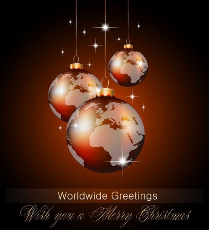 176-Christmas-Globe-world-wide-Vector Best 20 Merry Christmas Greeting Cards ... [Exclusive Designs]