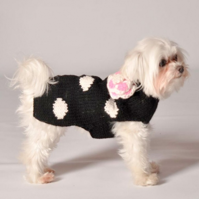 black-polka-dog-flower-dog-sweater-by-chilly-dog Top 25 Breathtaking Dog Sweaters for Your Dog