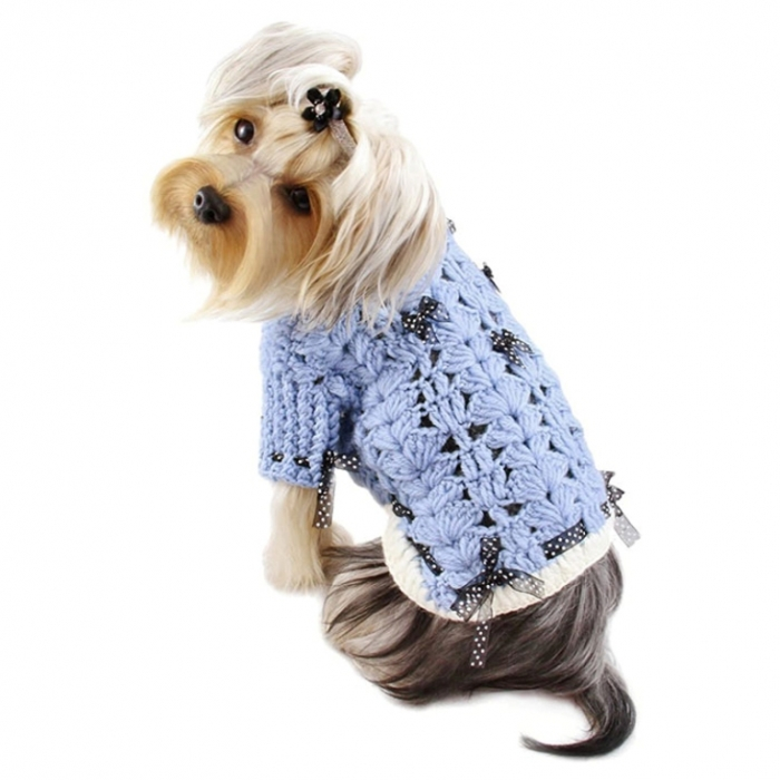 blue-darling-turtleneck-crocheted-sweater-1 Top 25 Breathtaking Dog Sweaters for Your Dog